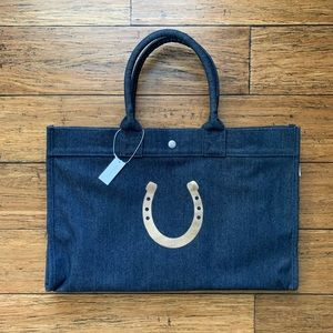 Denim Oversized Expandable Tote with Pockets